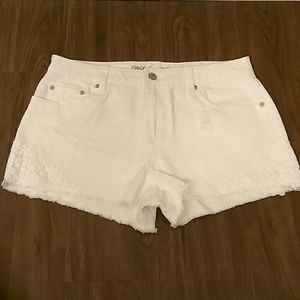 Mossimo High Rise Short Shorts White Distressed